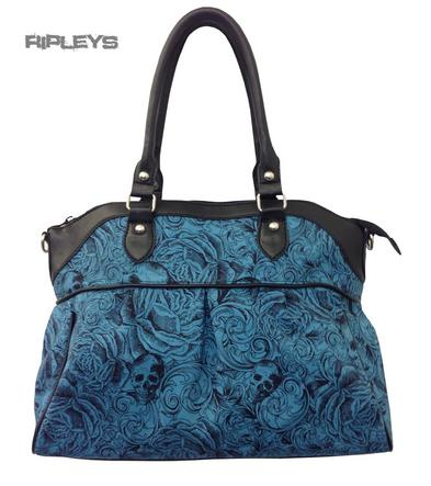 BANNED Clothing Handbag VINTAGE Skull & Roses Dusty Blue Large Bag